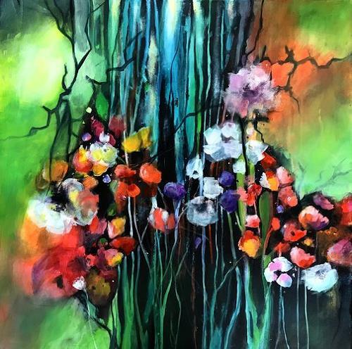Isabel Zampino, Sommergarten IV, Landschaft: Sommer, Pflanzen: Blumen, Gegenwartskunst, Expressionismus