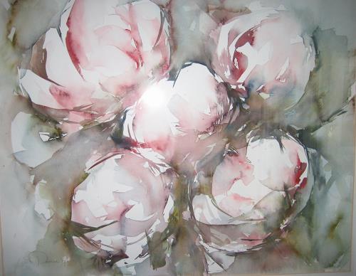 Els Driesen, Pioenrozen 3, Pflanzen: Blumen, Stilleben, expressiver Realismus, Expressionismus