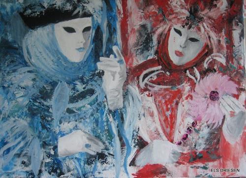 Els Driesen, carnaval in venitië, Karneval, Menschen: Paare, expressiver Realismus