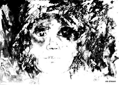 Els Driesen, black and white, Menschen: Porträt, Fantasie, Moderne, Abstrakter Expressionismus