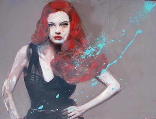 Els Driesen, red girl, Menschen: Frau, Menschen: Porträt, expressiver Realismus, Abstrakter Expressionismus