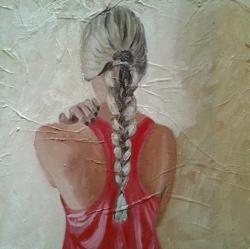 Els Driesen, meisje met vlecht, Menschen: Frau, Diverse Menschen, Realismus, Expressionismus