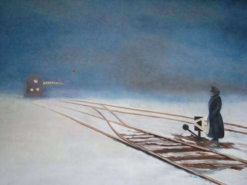 Doris Jordi, Weichenwärter in Sibirien, Menschen: Mann, Landschaft: Winter, Expressionismus