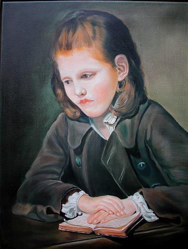 Doris Jordi, Lesender Knabe, Dekoratives, Menschen: Porträt