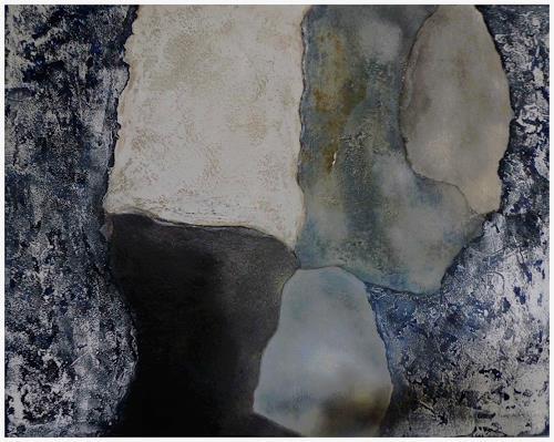 Doris Jordi, Spiel mit Bitumen und Feuer III, Abstraktes, Dekoratives, Abstrakte Kunst