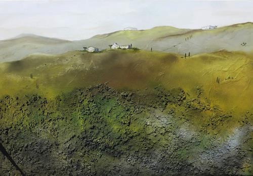 Doris Jordi, Toscana I, Landschaft, Landschaft: Hügel, Abstrakte Kunst, Expressionismus