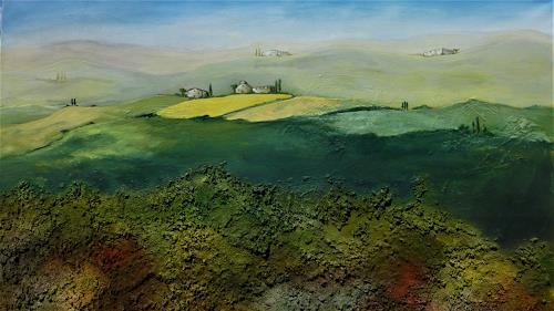 Doris Jordi, Toscana I, Natur: Diverse, Landschaft: Hügel, Land-Art, Expressionismus