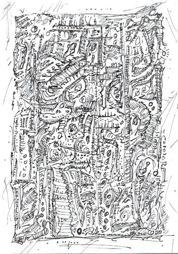 Rudolf Olgiati, kleine Kritzelei 1, Abstraktes, Fantasie, Expressionismus