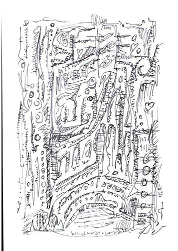 Rudolf Olgiati, kleine Kritzelei 3, Abstraktes, Fantasie, Abstrakte Kunst