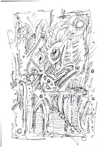 Rudolf Olgiati, kleine Kritzelei 4, Abstraktes, Fantasie, Abstrakte Kunst