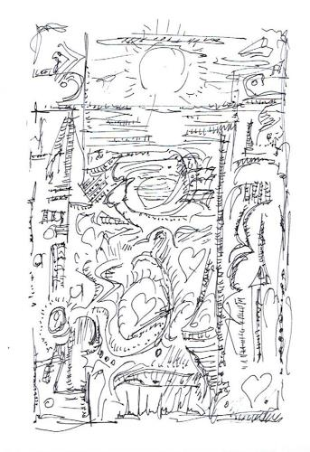 Rudolf Olgiati, kleine Kritzelei 5, Abstraktes, Fantasie, Abstrakte Kunst