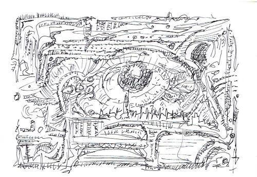 Rudolf Olgiati, kleine Kritzelei 6, Fantasie, Abstraktes, Abstrakte Kunst