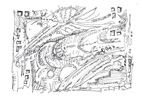 Rudolf Olgiati, kleine Kritzelei 7, Fantasie, Abstraktes, Abstrakte Kunst