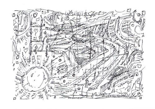 Rudolf Olgiati, kleine Kritzelei 8, Fantasie, Abstraktes, Abstrakte Kunst